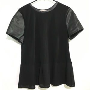 Ann Taylor Loft Faux Leather Short Sleeve Shirt